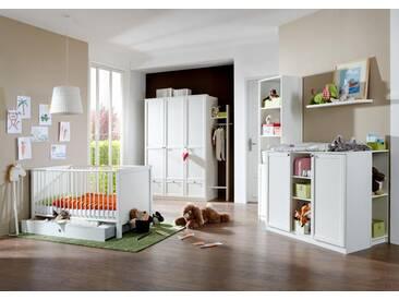 4-tlg. Baby-/Kinderzimmer in alpinweiß  Kleiderschrank B: 135 cm, Babybett 70 x 140 cm, Wickelkommode B: 122 cm
