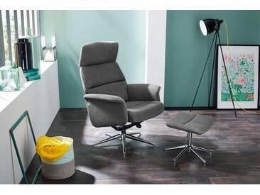 Relax Sessel mit grauem Webstoff bezogen inklusive Hocker, Maße: B/H/T ca. 75/106/76 cm