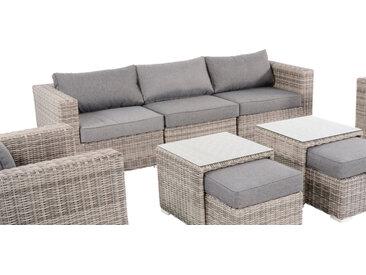 Exklusive Loungebank aus Polyrattan-Flachgeflecht in grau, Alu-Gestell, inkl. Sitz- und Rückenkissen in grau, Maße B/H/T ca. 240/66/85 cm