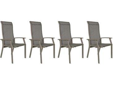 Gartenstühle mit Textylenbezug in beige und einem Gestell aus Aluminium in beige, Rückenlehne verstellbar, 4er-Set, Maße: B/H/T ca. 58,5/112,5/65 cm