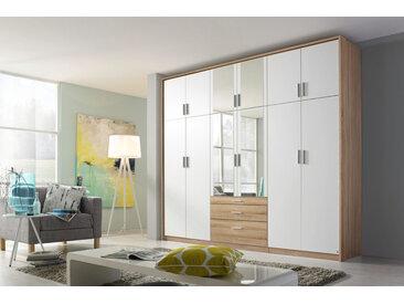Drehtürenschrank 12-trg. in Eiche Sonoma NB mit Fronten in alpinweiß, 4 Spiegeltüren und 3 Schubkästen, Maße: B/H/T ca. 271/229/54 cm