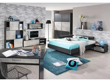 3-tlg. Jugendzimmer in grau/Beton, Schwebetürenschrank B:175 cm, Futonbett mit Kopfteil 140 x 200 cm, Nachtschrank B: 54 cm