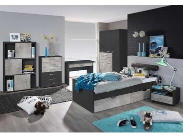 3-tlg. Jugendzimmer in grau/Beton, Kleiderschrank B:136 cm, Umbauliege mit Kopfteil 90 xm 200 cm, Nachtschrank B: 54 cm