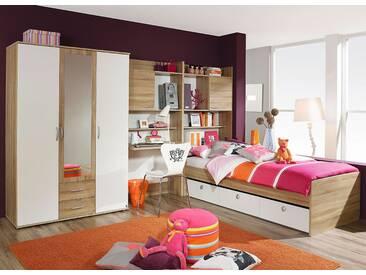 Jugendzimmer in Eiche sonoma sägerau-Nachb. und weiß, Kleiderschrank, Schreibtisch-/Bettkastenschrank, Umbauliege 90 x 200 cm, Gesamtbreite: 317 cm