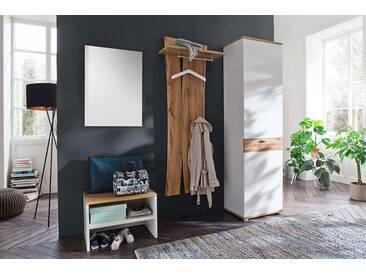 Garderobe in weiß mit Absetzungen in Wotan Eiche-Nb. Tiefzieh., Spiegel,  Bank, Paneel, Schrank, Gesamtmaß: B/H/T ca. 210/205/40 cm