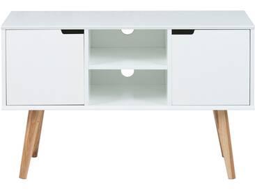 Anrichte in weiß, 2 Türen, 1 Boden, Echtholzbeine aus Eiche, Maße: B/H/T ca. 96/62,5/38 cm