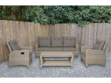 4-tlg. Premium-Lounge-Set aus Polyrattangeflecht in beige mit Alu-Gestell, 2 Loungestühle, Loungebank und Loungetisch