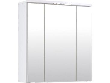 Spiegelschrank 3-trg. in weiß mit 6 Einlegeböden, LED-Einbaustrahler(2,6 W), Schalter, Steckdose, Maße: B/H/T ca. 60/64/20 cm