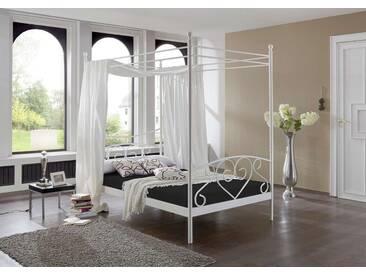 Himmelbett in Weiß, aufwendige Schmiedeoptik, inkl. Federkern-Matratze und Rollrost, Liegefläche ca. 120 x 200 cm