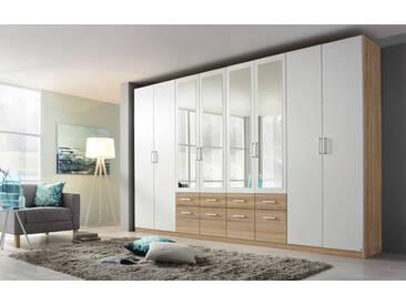 8-trg. Drehtüren-Kombischrank in Eiche Sonoma NB mit alpinweißen Fronten, 4 Spiegeltüren, 8 Schubkästen, Maße: B/H/T ca. 360/229/54 cm