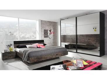 Schlafzimmer in schwarz/Vintage-Optik braun, Schwebetürenschrank 270/223/69 cm, Bett 180 x 200 cm, 2 Nachttische, 55/34/41 cm