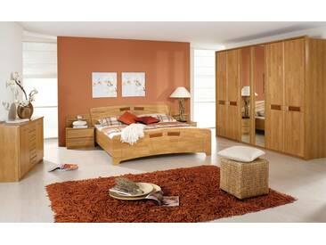 Schlafzimmer in Erle natur teilmassiv mit dunklen Absetzungen Rechteckform, Kleiderschrank Breite 282 cm, Bettanlage 180 x 200 cm mit 2 Nachtkommoden