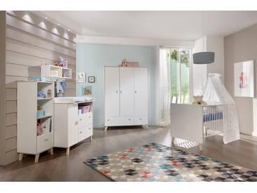 4-tlg- Babyzimmer in weiß mit Abs. in Esche-Dekor, Kleiderschrank Breite 132 cm, Wickelkommode Breite 103 cm, Babybett Liegefläche 70 x 140 cm