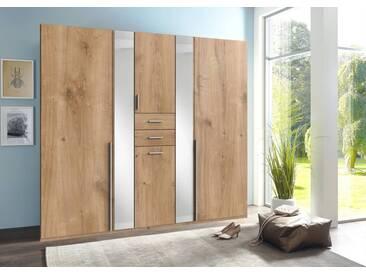 Drehtürenschrank 6-trg. in Plankeneiche-NB mit 4 Einlegeböden, 2 Kleiderstangen, 1 Wäschebox, 2 Schubladen und Spiegeln, Maße: B/H/T ca. 225/210/58 cm