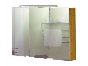Spiegelschrank aus Bambus massiv, 3 Spiegeltüren, innenverspiegelt, 4 Glaseinlegeböden, 1 LED Aufbauleuchte,  Maße: B/H/T ca. 90/70,5-77/16 cm