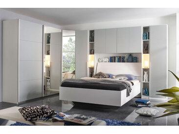 Schlafzimmer 8-tlg. alpinweiß mit Fronten in seidengrau, Schwebetürenschrank, Eckschrank, 2 Drehtürenschränke, 2 Regale, Hängeschrank, Bett 180x200 cm