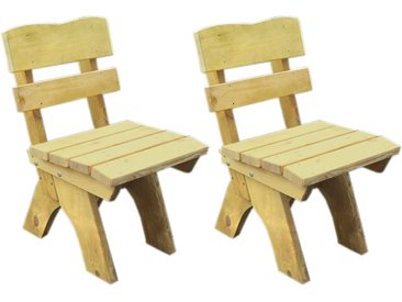 Gartenstühle aus Kiefernholz massiv in hellbraun imprägniert, 2er-Set, Maße: B/H/T ca. je 50/82/60 cm