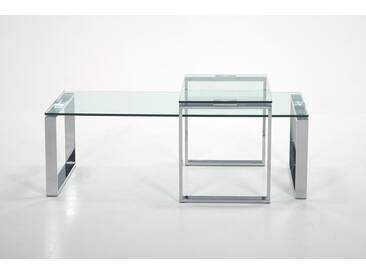 Couchtische bestehend aus einem Set aus gehärtetem Glas 10 mm, Gestell Metall verchromt, Maße: B/H/T ca.115/45/69 cm