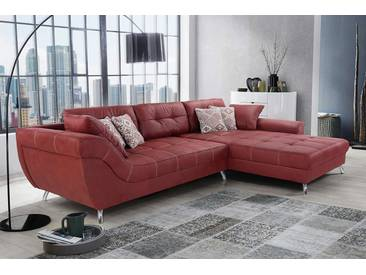 Sofa, Ecksofa mit rotem Mikrofaser-Stoff (Antiklederoptik) bezogen, inkl. Ottomane, 5 Kissen, 4 Zierkissen, Schenkelmaß: ca. 358 x 219 cm