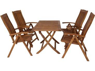 Gartenset aus geöltem Akazienholz, 5-tlg., 1 Klapptisch und 4 Klappsessel, Tisch-Maße: B/H/T ca. 120/74/70 cm, 4 Sessel-Maße: B/H/T ca. 60/110/68 cm