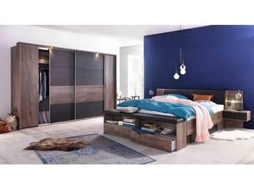 Schlafzimmer in Schwarzeiche-NB mit Abs. in Schlammeiche-NB, Dreh-/Schwebetürenschrank B:270 cm, Bettanlage Liegefläche ca. 180x200 cm