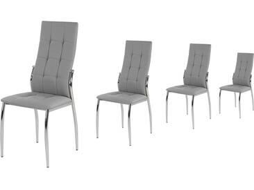 4er-Set Esszimmerstühle in grauem Kunstleder mit attraktiver Karo-Steppung und verchromten Stuhlbeinen, Maße.: B/H/T ca. 46/100/52 cm