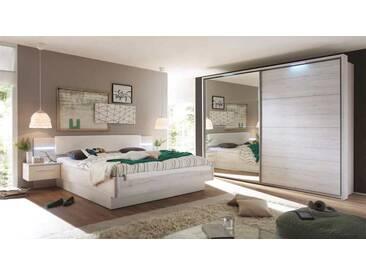 Schlafzimmer In Weißeiche NB Mit Abs. In Weiß, Bettanlage