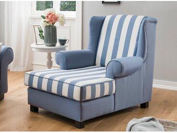 Longchair in blau-weiß gestreiftem und blauem Chenillestoff bezogen, Holzfüße wengefarben, Maße: B/H/T ca. 93/97/139 cm