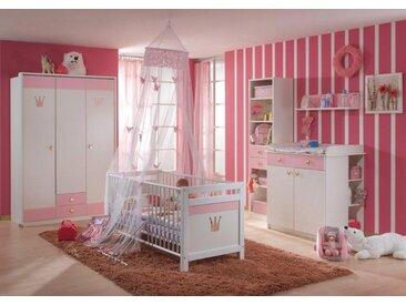 Babyzimmer 7-tlg. in Weiß/Rose, Schrank B: 139 cm, Regal B: 47 cm, Hängeregal B: 82 cm, Kinderbett 70 x 140 cm, Wickelkommode B: 91 cm, Regal B: 32 cm