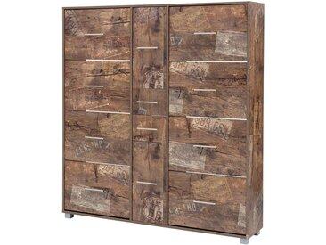 Schuhschrank in Panamaeiche-NB mit 8 Klappen, 2 Türen, 2 Schubladen, Griffe, Auszüge und Beschläge aus Metall, Maße: B/H/T ca. 146,7/163,7/30 cm