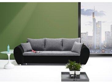 Big Sofa mit Schlaffunktion und Bettkasten in schwarz/grau mit Wellenfederpolsterung im Sitz Füße in Chrom-Optik Maße: B/H/T ca. 260/90/97 cm