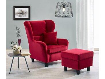 Sessel, Ohrensessel mit Hocker und Zierkissen in rotem Samt bezogen, Füße schwarz