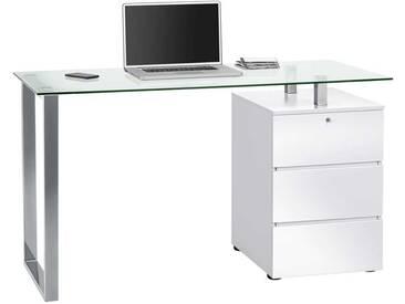 Schreib- und Computertisch in Hochglanz weiß mit Metallfuß, Tischplatte aus Glas, 1 abschließbare Schublade, 1 Tür, Maße: B/H/T ca. 130/75/60 cm