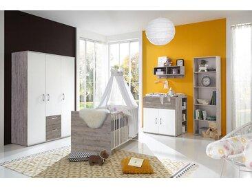 4-tlg. Babyzimmer in Eiche Sand Nachbildung und weiß, Kleiderschrank  B: 130 cm, Wickelkommode B: 87 cm, Kinderbett inkl. Lattenrost B: 144 cm