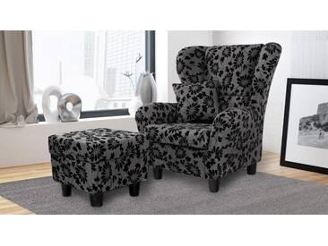 Sessel, Ohrensessel mit Hocker und Zierkissen in grau-schwarz melierten Strukturstoff mit geflocktem Blumenprint bezogen, Füße schwarz