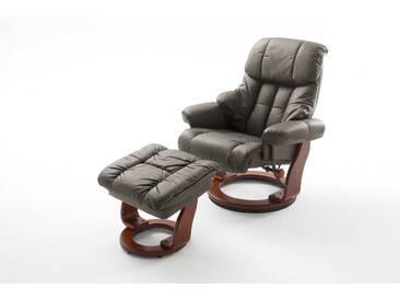 Relaxsessel in Echtleder schlamm inkl. Hocker, Gestell walnuss/nussbaum, Maße: B/H/T ca. 90/104-89/91-122 cm
