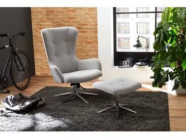 Relax Sessel in hellgrauem Webstoff bezogen inklusive Hocker, Maße: B/H/T ca. 78/104/74 cm