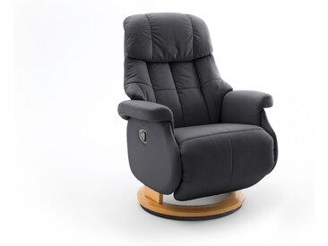 Relaxsessel-Komfort mit manueller Bedienung, in schwarzem Echtleder, Gestell natur, Maße: B/H/T ca. 77/87-111/86-158 cm