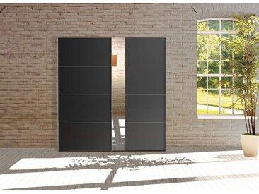 2-trg. Schwebetürenschrank in schwarz mit Spiegel und chromfarbenen Griffleisten, Maße: B/H/T ca. 200/216/68 cm