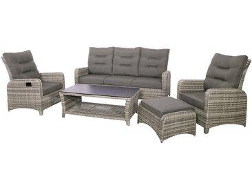 4-tlg. Premium-Lounge-Set aus Polyrattan-Doppelgeflecht in greige mit Alu-Gestell, 2 Loungestühle, Loungebank und Loungetisch