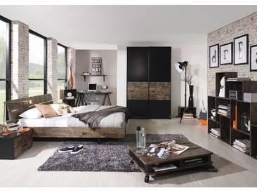 Schlafzimmer in Schwarz/Vintage-Optik braun, Schwebetürenschrank ca. 136/223/69 cm, Bett 140 x 200 cm, Nachttisch ca. 55/34/42 cm