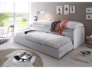 Kojenbett mit Ausziehliege in weiß, 3 Schubladen, Maße: B/H/T ca. 96/64/206 cm, 2 x Liegefläche: 90 x 200 cm