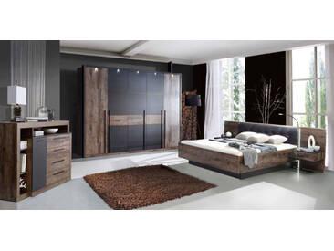 Schlafzimmer in Schlammeiche-/ und Schwarzeiche-Nachb. inkl. Beleuchtung, Drehtürenschrank B: 260 cm, Bettanlage mit Nachtschränken: 304 cm