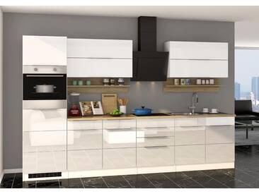 Delicieux Küchenblock, Weiß Hochglanz, Stellmaß: Ca. 320 Cm, Details Lt.  Artikelbeschreibung