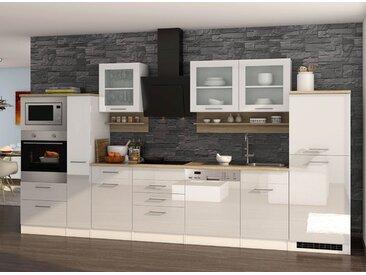 Küchenblock, weiß Hochglanz, Stellmaß: ca. 370 cm, mit Elektrogeräten inkl. Geschirrspüler und Mikrowelle