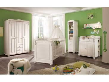 Babyzimmer 4-tlg. in Kiefer weiß Wachs, Kleiderschrank B: 126 cm, Wickelkommode B: 90 cm,  Babybett Liegefläche 70 x 140 cm