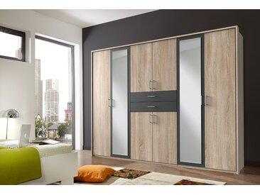 8-trg. Drehtürenkleiderschrank in Eiche sägerau-Nachbildung/graphitfarben, 2 Spiegeltüren, Maße: B/H/T ca. 270/210/58 cm