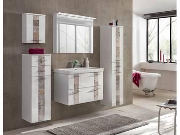 5-tlg. Badmöbel-Set in Hochglanz weiß, Front-Abs. aus Steinmosaik-beige, Hochschrank, Spiegelschrank, Waschbeckenunterschrank, Oberschrank, Highboard
