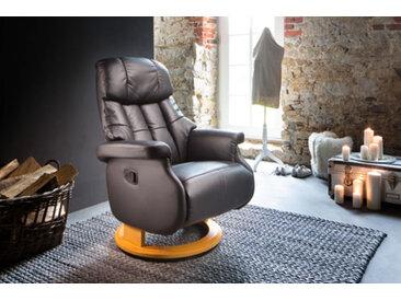 Relaxsessel-Komfort mit manueller Bedienung, in Echtleder schlamm, Gestell natur, Maße: B/H/T ca. 77/87-111/86-158 cm