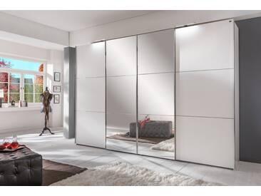 4-trg. Schwebetürenschrank inkl. Syncro-Technik (Synchron-Öffnung) in alpinweiß mit 2 Spiegelfronten, Maße: B/H/T ca. 300/236/65 cm